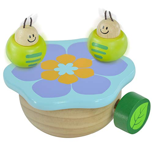 I'm Wooden Music Box Mechanism - Rock n Roll Dancing Bug on Flower Playing Minuet No.3 for Kids ()