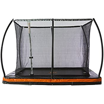 10ft. x 7.5ft. In-ground Rectangular Trampoline with Patented Safety Net Cable Wire Enclosure System - European Design