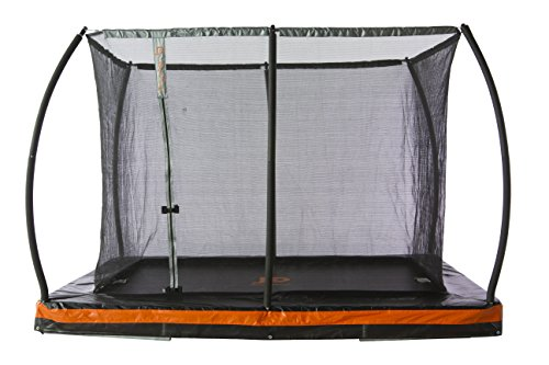 JumpPower 10ft. x 7.5ft. in-Ground Rectangular Trampoline with Patented Safety Net Cable Wire Enclosure System – European Design