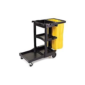 CARRO DE LIMPIEZA NEGRO PVC Dimensiones: 130x54,5x100 cm Bolsa de lona de 70 L con tapa negra.: Amazon.es: Industria, empresas y ciencia