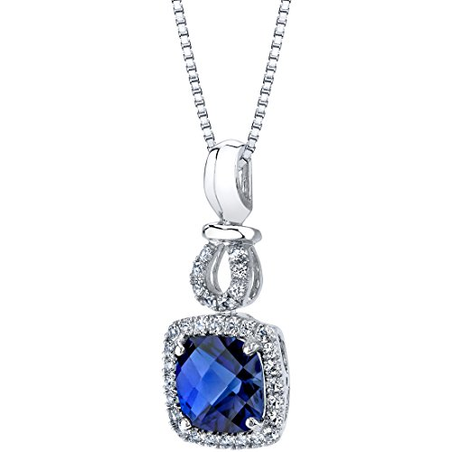Created Blue Sapphire Halo Drop Pendant in 14K White Gold (3.00 carat) (Blue Sapphire Cluster Pendant Genuine)