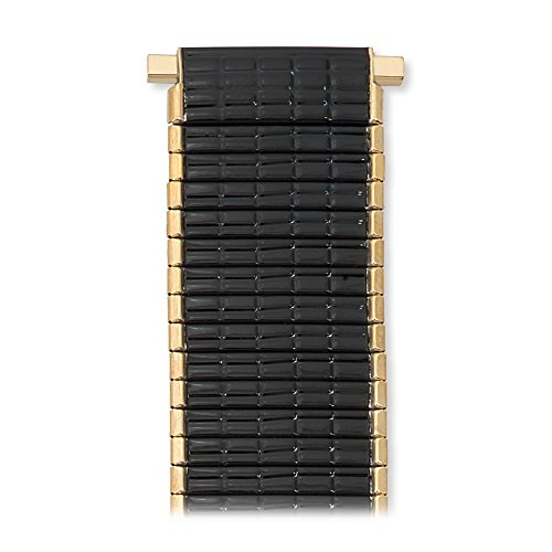 Length No Clasp - Speidel Men's Stainless Steel Comfortable Stretch Thinline Black with Gold Watchband 18-22mm, Straight End, No Clasp