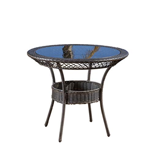 GDF Studio 296522 Gaviota 34″ Round Outdoor Wicker Dining Table, Brown