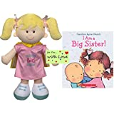 Big Sister Gift Set for Little Girls and Toddlers, Super Big Sister Doll with Cape and I am a Big Sister Book by Carolyn Jayne Church Bundle with Gift Tag