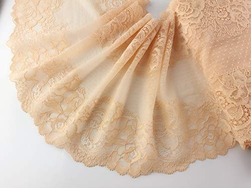 Elastic Lace Trim Beige Spandex Lace 10 Yards Soft Delicate Lace Trim for DIY/Doll Dress/Wedding Sewing  85inch Beige