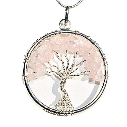Zenergy Gems Charged Natural Himalayan Rose Quartz Tree of Life Pendant + 20