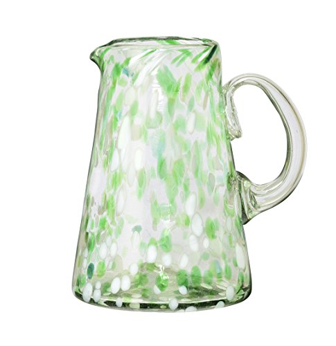 Amici Home, 7MCR816R, Confetti Collection Cone Pitcher, Handmade Artisanal Mexican Drinkware, Recycled Glass, Dishwasher Safe, 80 Ounces