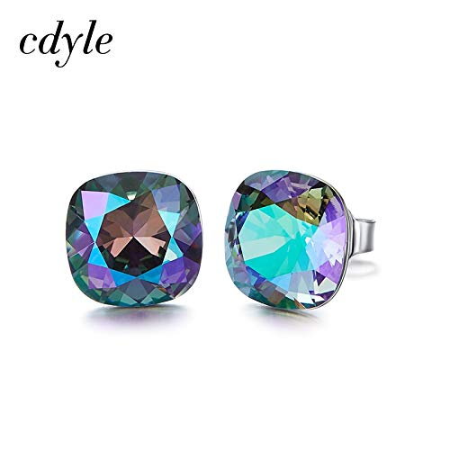 (Earring Backs - Crystals from Swarovski Earrings Silver 925 Square Stone Stud Earrings for Women's Gift Tiny Simple Ear Jewelry Wholesale)