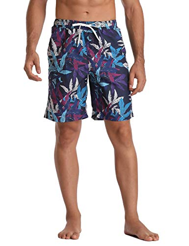 Men's Board Shorts with Pockets Floral Swim Trunks Quick Dry Drawstring Beach Pants 32