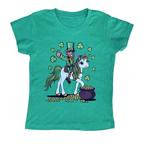Kids/Girls/Youth Leprechaun Riding a Unicorn St. Patrick's Day T-Shirt - Youth Small -
