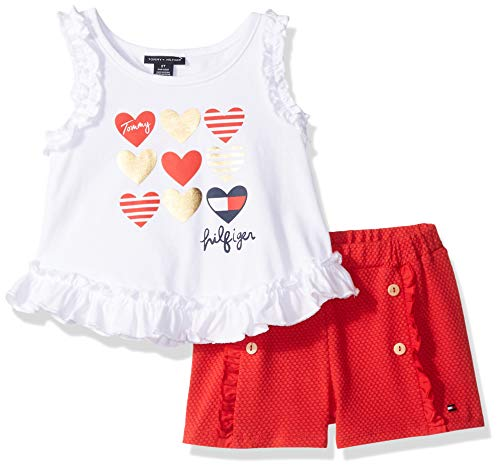 Tommy Hilfiger 2 Piece - Tommy Hilfiger Girls' Little 2 Pieces Shorts Set, White/red 6