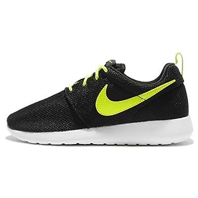 Nike Kid's Roshe One (GS), BLACK/VOLT-WHITE, Youth Size 6