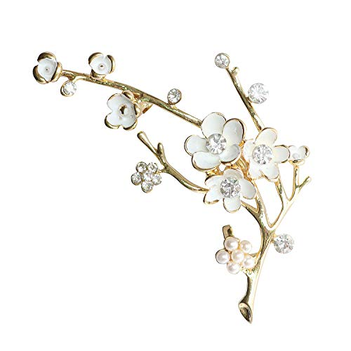 Plum Blossom Brooches for Women White Enamel Flower Golden Ally Bouquet Brooch Pins Coat Jewelry Gift