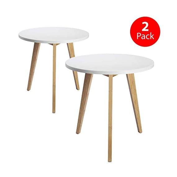 STNDRD. Bamboo End Table: Mid-Century Modern. Bedside Nightstand or Living Room Side Table (Set of 2) - NATURE-FRIENDLY. The STNDRD. 3 legged bamboo side table is an environmentally friendly piece of furniture. Bamboo is one of the many renewable resources in the planet. It takes only 5 years to regrow a bamboo tree compared to other types of hardwood. RUSTIC FURNITURE. This 3 legged bamboo furniture is a versatile piece. It is built from bamboo wood strong enough to hold some indoor plants. The 3 light colored bamboo legs is manufactured without using any method to alter its natural rustic look. PROVIDES COMPETITIVE PRICING ON FURNITURES. Our bamboo table top furniture comes at a competitive price compared to other wood furniture sets. Bamboo is a low cost raw material so it owns a big price advantage over other kinds of furniture sets. - nightstands, bedroom-furniture, bedroom - 41qem17mJ9L. SS570  -