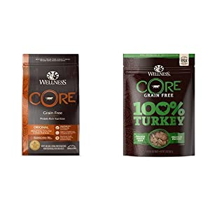 Wellness CORE Natural Grain Free Dry Dog Food, Original Turkey & Chicken (4-Pound Bag) with Wellness CORE 100-Percent Freeze Dried Dog Treats, Turkey (2-Ounce Bag), Variety Bundle
