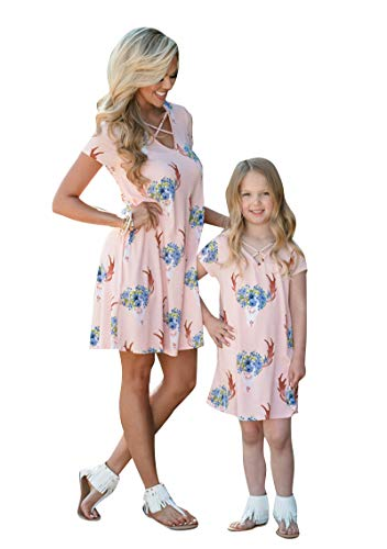 YMING Mommy and Daughter Bohemia Floral Short Dress Casual Family Clothes Pink Mom L