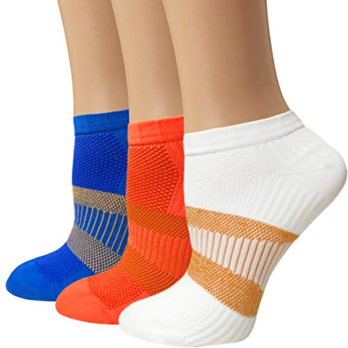 (Sports Copper Ankle Sock Athletic Running Compression Socks Arch Support Women Men - 8-15 mmhg (L/XL, MIX))