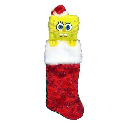 Kurt Adler SpongeBob SquarePants Plush Head Stocking, -