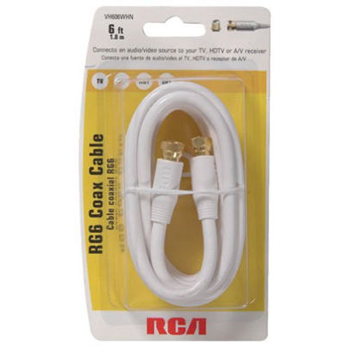 RCA 6' RG-6 Digital Coaxial Cable With Gold Plated F Connect