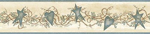Chesapeake CTR65173B Paxton Blue Tin Hearts and Stars Wallpaper Border ()