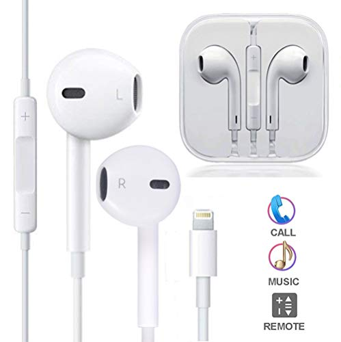 ZestyChef Earbuds, Microphone Earphones Stereo Headphones Noise Isolating Headset Fit Compatible with iPhone Xs/XR/XS Max/iPhone 7/7 Plus iPhone 8/8Plus / iPhone X Earphones (White)