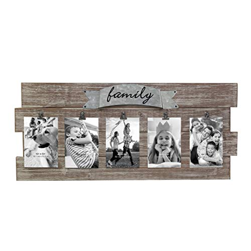 Stonebriar Rustic Wood Collage Picture Frame with Clips and Metal Detail (Rustic Family Picture Frames)