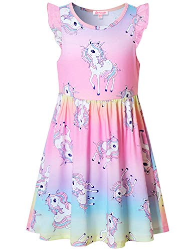 (Unicorn Dresses for Girl 10 12 Flutter Sleeve Swing Summer Party Dress Pink)