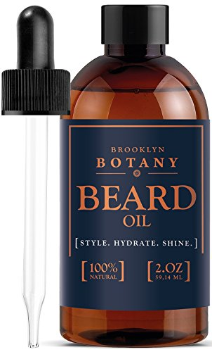 Moroccan Beard Oil & Leave-In Conditioner 2 oz – 100% Pure & Natural, Lightly Scented – with Organic Argan Oil – Brooklyn Botany