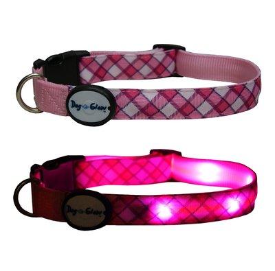 Pink Plaid LED Light Up Dog Collar, Large/15-21-Inch