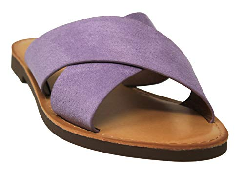 MVE Shoes Women's Strappy Flats Summer Shoes - Faux Leather Slip On Sandals - Criss Cross Slide Sandal, Lilac ISU Size - Slides Lilac