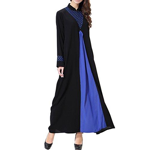 Hzjundasi Dubai Mujer de Ayustar Robe Suelto Cóctel Azul Boda larga Vestido Vestido islámico Apparel Abaya Kaftan Maxi Turquía noche Oriente TH901 Musulmán Manga Medio Or5FqOw