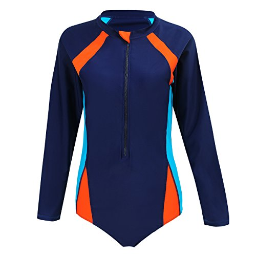 FOLWEP Women's Long Sleeve One Piece Surfing Wetsuits Snorkeling Diving Wet Suit 2XL/48 - Swimsuit Wetsuit Womens