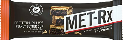 MET-Rx Protein Plus Protein Bar, Peanut Butter Cup, 4 Count Value Pack, High Protein Bar with Vitamins to Support Energy Levels & Muscle Strength, Gluten Free
