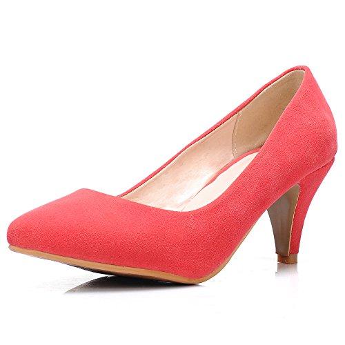 fereshte Women's Classic Simple Suede Kitten Heel Pointed-Toe Slip-On Pump Shoes Watermelon Red