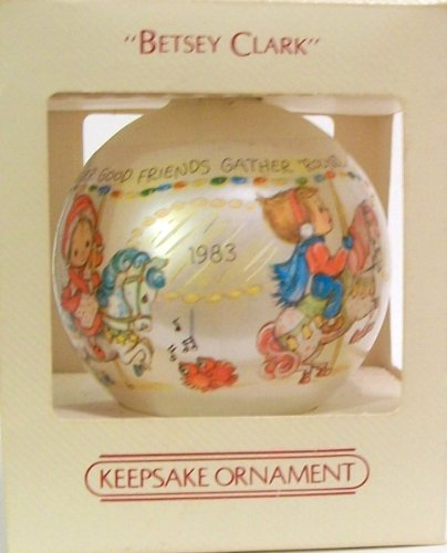 Collectible Christmas Hallmark Keepsake Glass Ornament c1983 - Betsey Clark - Christmas Happiness Is Found... Whenever Good Friends Gather 'Round