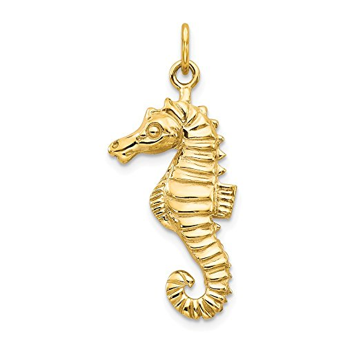 FB Jewels Solid 14K Yellow Gold Seahorse Charm ()