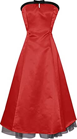 50's Strapless Satin Formal Bridesmaid Gown Holiday Prom Dress, XS, Red