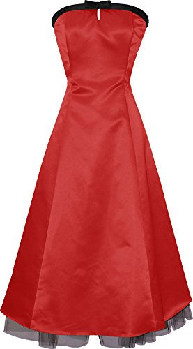 50's Strapless Satin Formal Bridesmaid Gown Holiday Prom Dress, 2X, Red