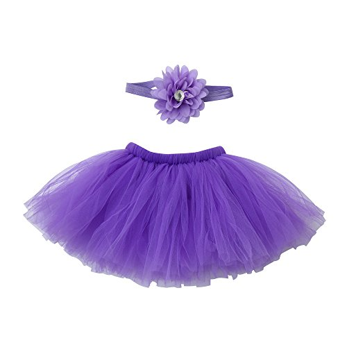 Birdfly 0-4 Months Baby Girls Tulle Tutu Skirt With Flower Headband Newborn Infant Photography Party Outfit (0-4 Months, Purple) (Using Old Dance Costumes For Halloween)