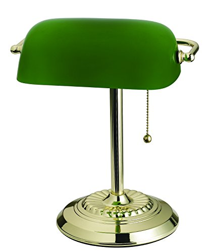 Catalina Lighting 17466-017 Franklin Banker's Lamp, Plated Brass with Adjustable Green Glass Shade, 14.5