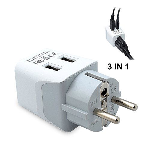 Ceptics USA to Schuko Germany, France, Russia Travel Adapter Plug With Dual USB - Type E/F - Ultra...