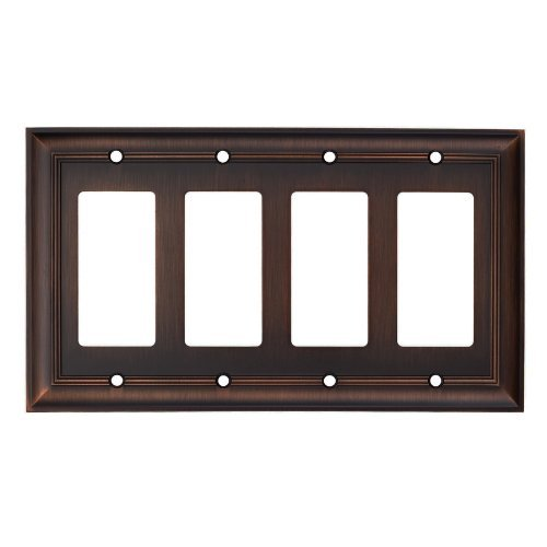 Allen + Roth 8-1/2'' X 4-7/8'' Oil-rubbed Bronze Metal Wall Plate Quad Rocker