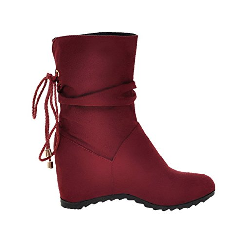 Boots Round Women's Solid up Red Heels Toe AgooLar Lace Kitten Frosted Uzxq4wnTR