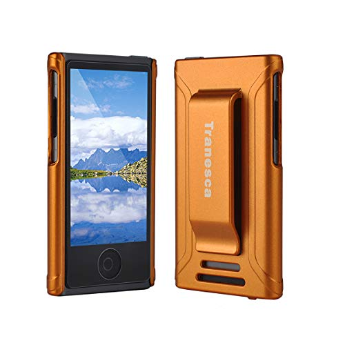 iPod Nano 7 case,Tranesca iPod Nano 7th & 8th Generation Rubber Cover Shell case with Belt Clip and Premium Tempered Glass Screen Protector - Sunset Orange (Orange Ipod Nano Case)
