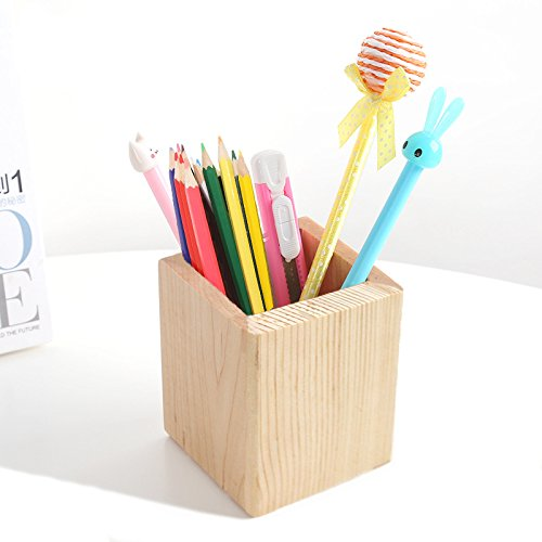 Bamboo Wooden Office Desk Organizer Pen Pencil Container Holder (Square)