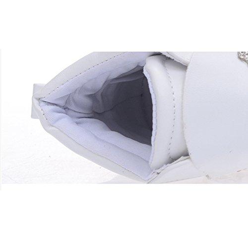 Btrada Womens Wedge Increased Hidden High Top Sneakers Side Zip CZ Flat Platform Walking Sneakers Shoes White IRI1u2Xq2F