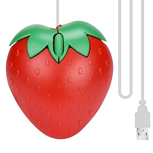 Optical Mice,Leegor LED Wired Gaming Game Mice Mouse,Cute Strawberry Design,Mobile And Stability