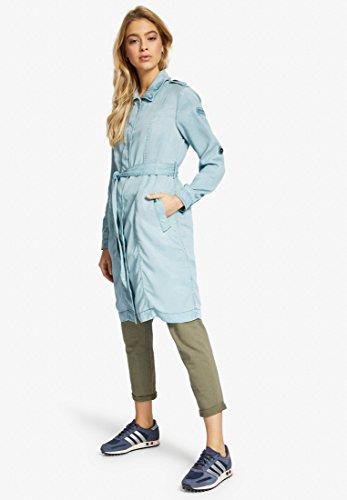 mujer para Larga Básico khujo Azul Manga Blusa Abrigo S6wq1W4Y7