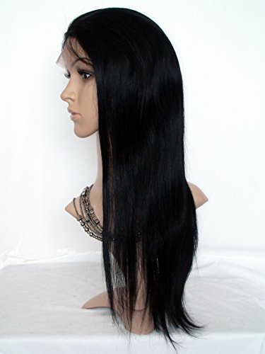"""18"""" Good Quanlity Full Lace Human Hair Wig For Black Woman Malaysian Virgin Remy Human Hair Natural Straight Color #1 Jet Black"""