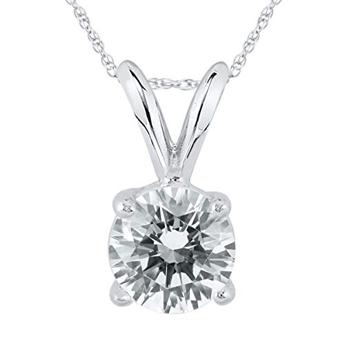 AGS Certified 1 Carat Diamond Solitaire Pendant in 14K White Gold (J-K Color, I2-I3 Clarity)
